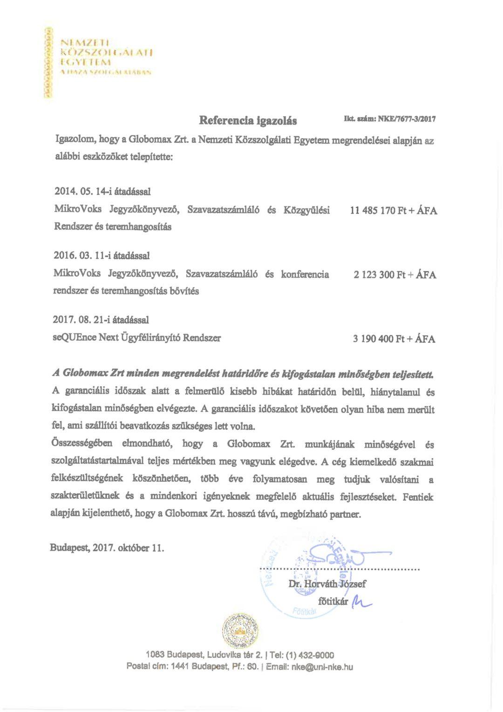 Globomax MikroVoks szavazó és konferencia rendszer referenia igazolás