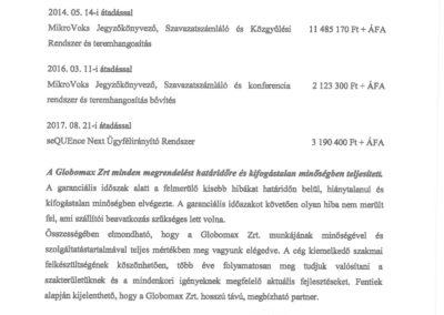 MikroVoks szavazó és konferencia rendszer és seQUEnce ügyfélhívó rendszer NKE refencia igazolás