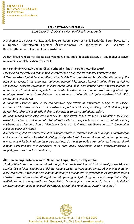 Globomax ügyfélhívó rendszer NKE referencia igazolás