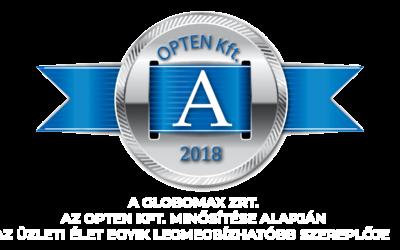 A Globomax Zrt. 'A' minősítést nyert el az Opten Kft. értékelése alapján.