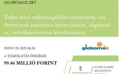 A Globomax Zrt a 2018-1.1.1-MKI-2018- 00126 pályázat keretében új generációjú videó rendszert fejleszt ki.